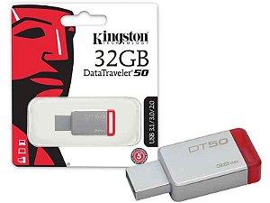 PEN DRIVE DATATRAVELER 32GB USB 3.1 DT50/32GB PRATA/VERMELHO - KINGSTON