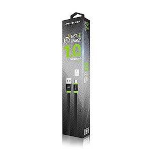 CABO USB 2.0 P/ MICRO USB (CELULARES,HD EXT) 1M PRETO CB-100BK - C3TECH