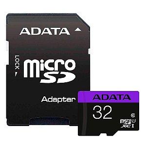 CARTÃO DE MEMORIA 32GB CLASS 10 SDHC MICROSD COM ADAP. SD - ADATA