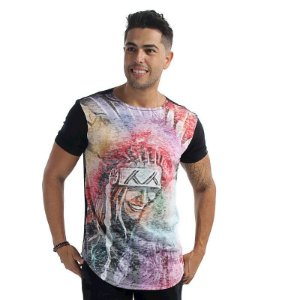 Camiseta LongLine India Rainbow costa Preta