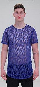 Camiseta Tecido Transparente Azul