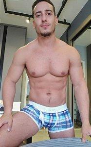 Cueca Boxer Estampa Quadriculado Azul