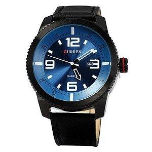 Relógio Masculino Curren Analógico 8180 Preto e  Azul