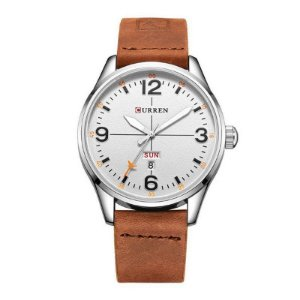 Relógio Masculino Curren Analógico 8265 Prata e Branco