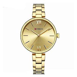 Relógio Feminino Curren Analógico C9017L - Dourado