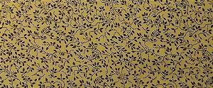 Tecido 100 % Algodão Para Patchwork E Artesanato Em Geral Cor Amarelo Detalhe Marrom larg 1,50