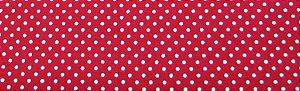 Tecido 100 % Algodão Para Patchwork e Artesanato Cor Vermelho Poa Branco 3mmLargura 1,50
