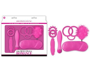 Kit Fetiche Pink com 1 Plug, 2 Anéis, Algemas, 1 corda, 1 Venda e 1 Pena - NAN045