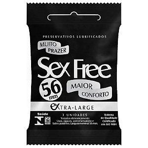 Preservativo Lubrificado Sex Free Extra Large com 3 Unidades - SEX002