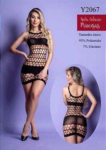Mini Vestido confeccionado em arrastão com detalhes escuros nas partes intimas - Y2067
