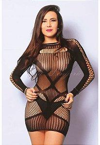 Mini vestido com detalhes em arrastão - Y6132