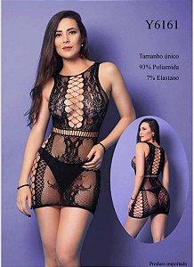 Mini vestido sexy com transparências, detalhes em arrastão - Y6161