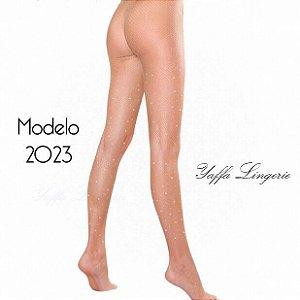 Meia calça arrastão com detalhes em strass - Y2023