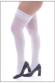Meia calça 7/8 Lisa com renda Cor Branca - 0302