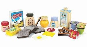 Coleção Comidinhas Kit Café da Manhã Brinquedo de madeira