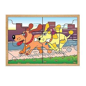 Quebra-Cabeça Casal Cachorros 10 Peças + 1 Base - Carlu