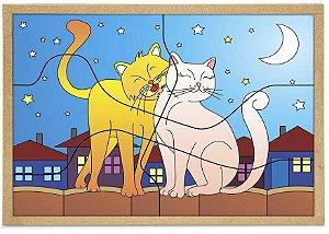 Quebra-Cabeça Casal Gatos 6 peças + 1 Base - Carlu