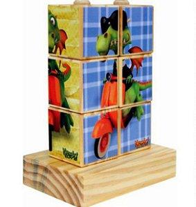 Brinquedo Pedagógico Quebra Cabeça Cubos de Encaixe  Figuras de Dragão