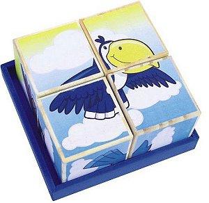 Quebra Cabeças Cubos Figuras de Aves - Educativo e Pedagógico