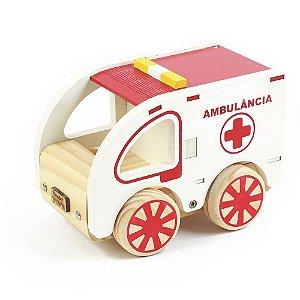 Carrinho Ambulância de Madeira NewArt Toys