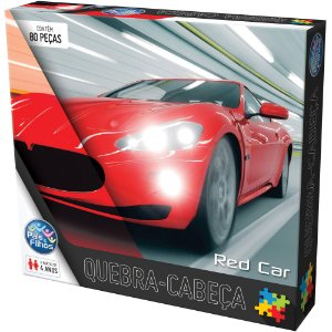 Quebra-Cabeça Red Car 80 Peças - Pais E Filhos