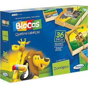 Blocos Pedagógicos Quebra-cabeça Zoológico 36 Pçs - Xalingo