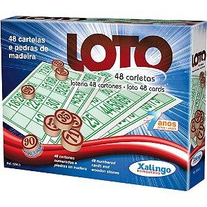 Jogo De Bingo Loto 48 Cartelas Pedras Madeira - Xalingo