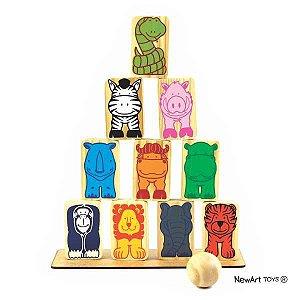 Equilíbrio Animais Madeira - multicolorido - NewArt Toys