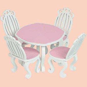 Movéis P/ Casinha De Boneca - Mesa Com Cadeiras Linha Provençal - NewArt