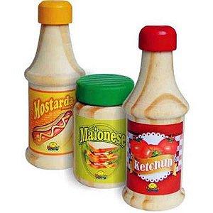 Coleção Comidinhas NewArt Toys - Ketchup, Mostarda E Maionese Ref.403
