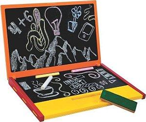 Brinquedo Educativo De Madeira Notebook Lousa Laranja - NewArt