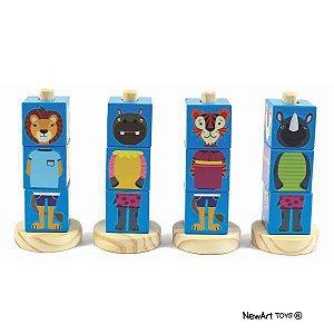 Coleção Cubos Animais Azul - NewArt Toys