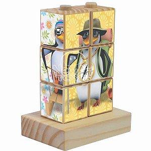 Quebra Cabeça Cubos de Encaixe Pinguim - NewArt Toys