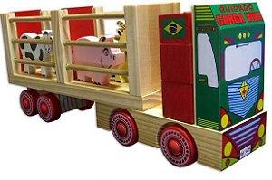 CAMINHÃO DE MADEIRA FAZENDINHA EDUCATIVO - CARIMBRÁS