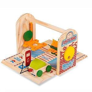 Brinquedo Postinho De Carrinhos Em Madeira