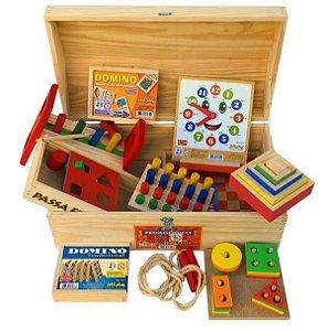Baú Pedagógico com 10 jogos