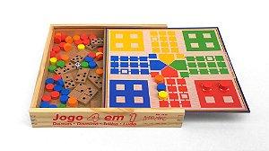 Jogo 4 em 1 (dama, ludo, trilha e dominó)