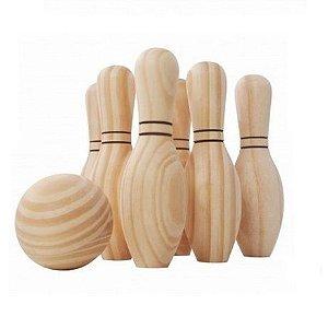Jogo de Boliche de Madeira Brinquedo Pedagógico NewArt