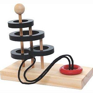 Jogo de Raciocínio Desafio da Argola em madeira