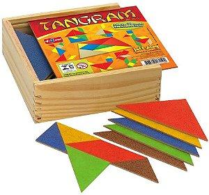 Tangram, conj. c/ 10 jogos, 70 pcs - cx madeira