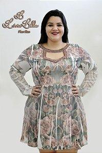 vestido crepe sublimado com bordado em perolas e chatoon.