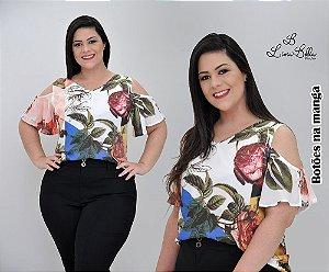 """Blusa sublimada com ombro vazado e botões na manga. Coleção """"LUST"""" Primavera verão 2018."""
