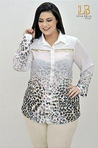 Camisa manga longa sublimada e bordado manual no recorte.