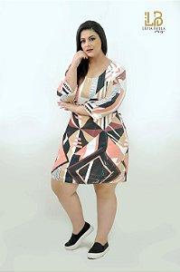 Vestido sublimadocom  manga 3/4  bordado.