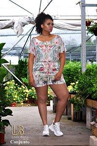 Conjunto sublimação floral, short com elástico na cintura e bolso lateral