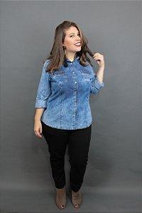 Camisa Jeans Plus Size Marmorizada