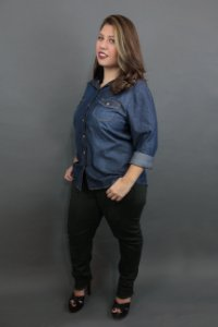 Camisa Jeans Plus Size Raw