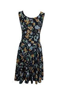 Vestido Plus Size Floral Preto