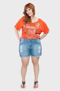 Shorts Jeans Destroyer Plus Size