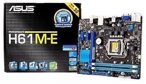 Placa-Mãe Asus H61M-E para processadores Intel Pentium i3 i5 i7 socket LGA 1155 DDR3 VGA / SOM / LAN